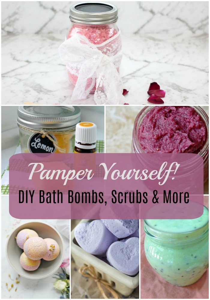 bath bombs - 12 Ways to Pamper Yourself - DIY Bath Bombs, Scrubs & More!