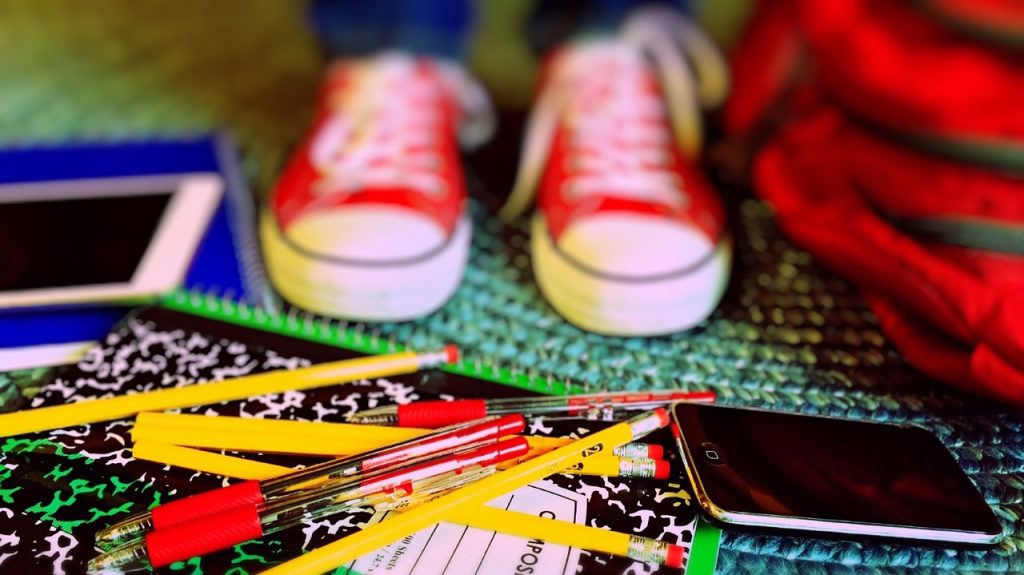 Back to school kids' sneakers and supplies
