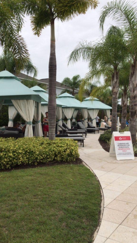 Cabanas in pool area Encore Resort