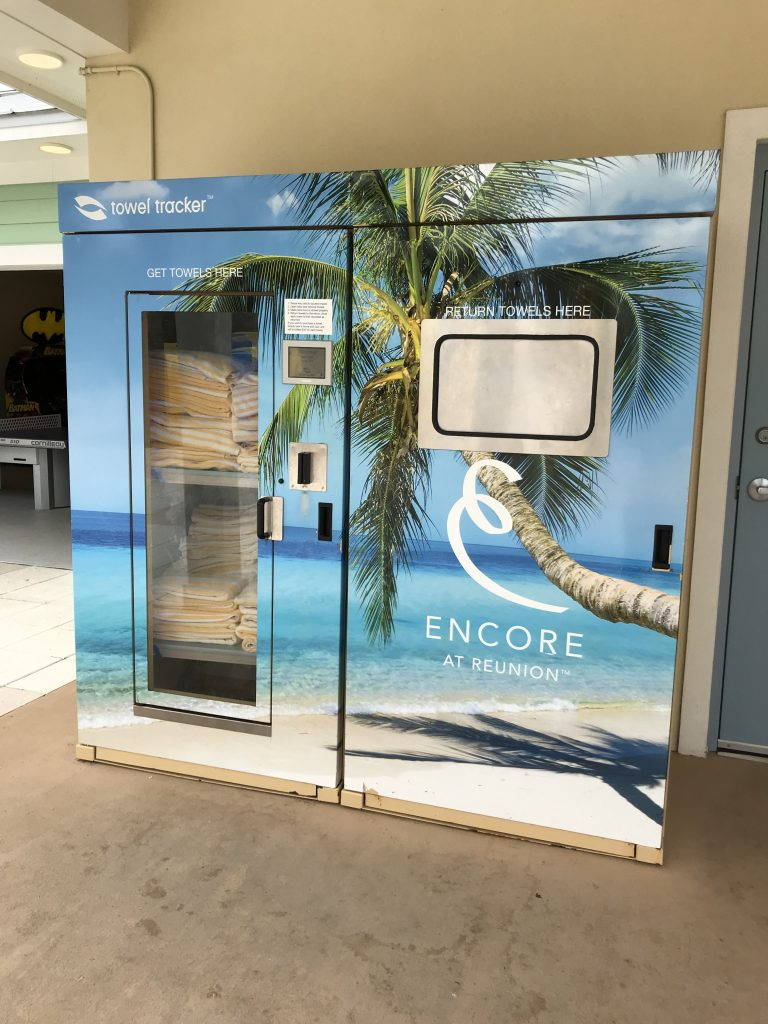 Encore Resort pool Towels dispenser