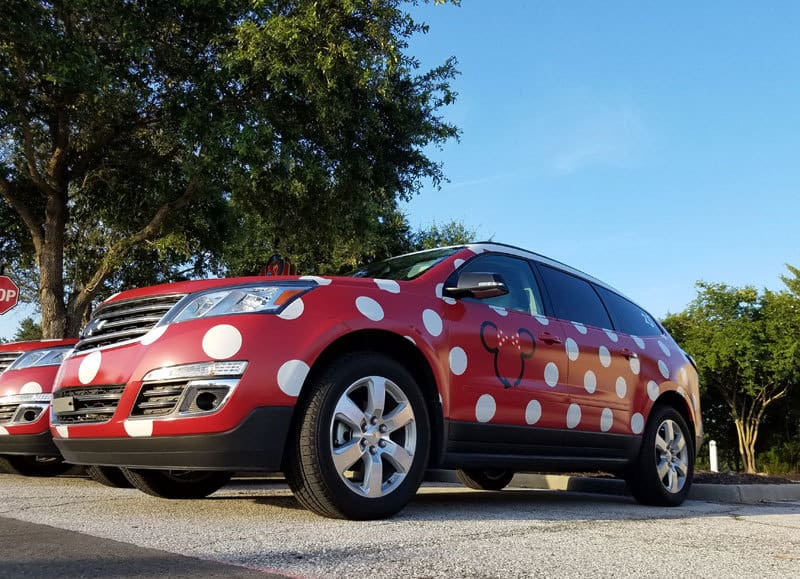 disney minnie mouse van with polka dots