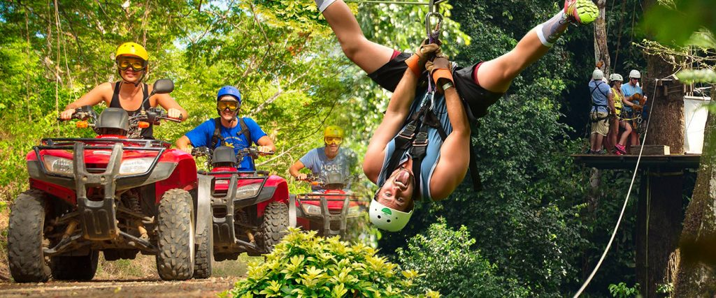3 people Ziplining and ATV