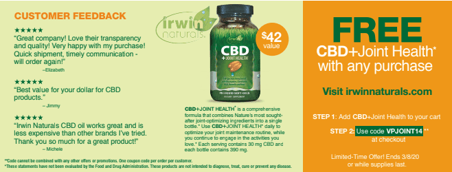 Irwin Naturals. - Irwin Naturals CBD for Joint Health - Free Bottle!