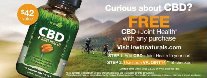 Irwin Naturals Insert 1 - Irwin Naturals CBD for Joint Health - Free Bottle!