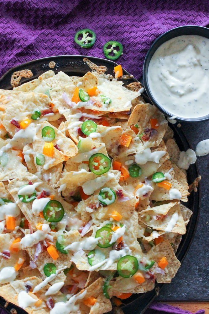 Jalapeno Popper Nachos with Garlic Cream Sauce - 15 Easy Jalapeno Recipes - Perfect Mother's Day Appetizers