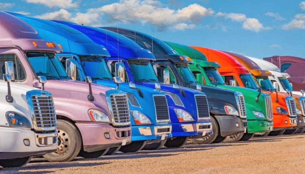 colored semi trucks