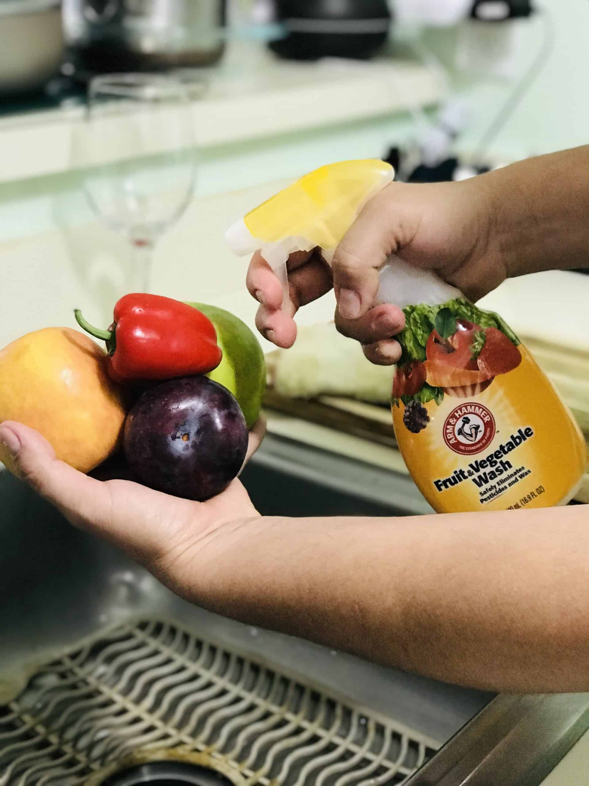 washing fruits with Fruit and Vegetable Wash